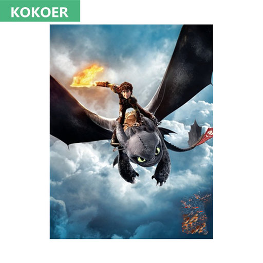 "2017 Volledige Vierkante/Ronde Boor 5D DIY Diamant Schilderen ""Cartoon Dragon"" 3D Borduren Kruissteek Mozaïek Strass Home Decor"