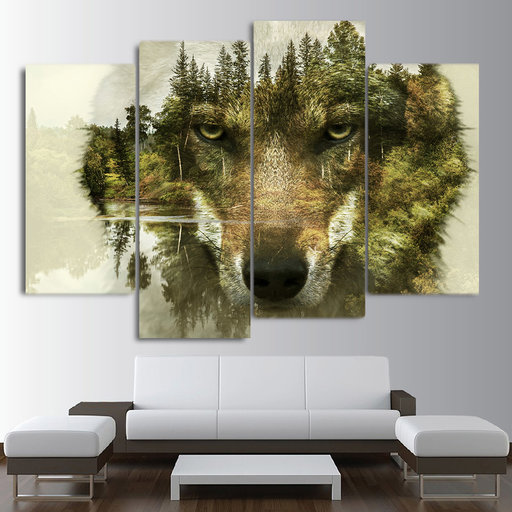 4 stks Abstract dier wolf Wall Art Foto, 5d diy Volledige vierkante Diamanten Schilderen, Stitch Cross, mozaïek, diamant Borduurwerk home decor