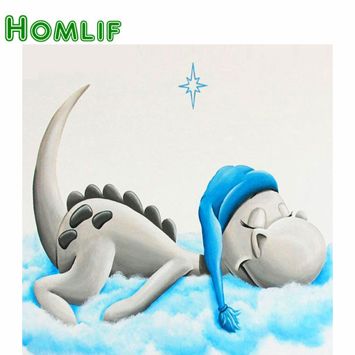 "HOMLIF Volledige Vierkante Boor 5D DIY Diamant Schilderen ""Cartoon Dragon"" 3D Borduren Kruissteek Mozaïek Strass Home Decor"