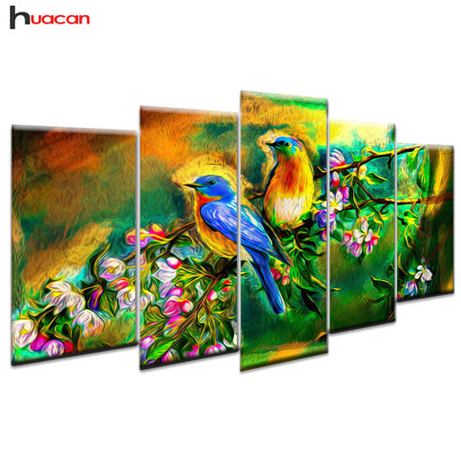 Huacan Vogel Patroon Diamant Schilderen Multi-picture Combinatie Wall Art Kruissteek Mozaïek Decor Gift 5 stks/set