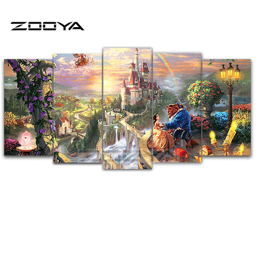 ZOOYA 5D DIY Diamant Borduurwerk Beauty Beast 5 stks Multi-picture Combinatie Diamant Schilderen Kruissteek Strass Decor BK263