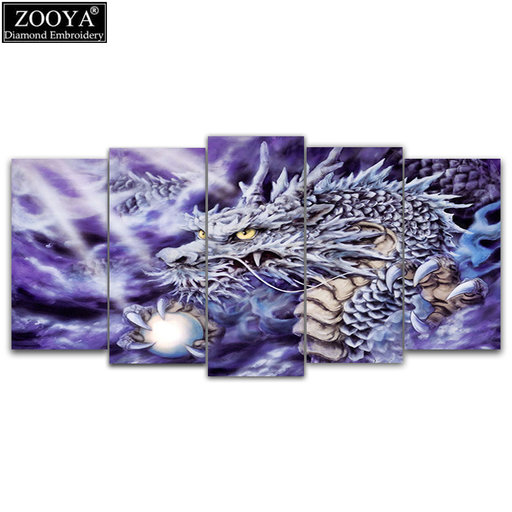 ZOOYA 5d diy Diamant borduurwerk Paars Dragon 5 stks Multi-picture Combinatie diamant schilderen Kruissteek Strass decor